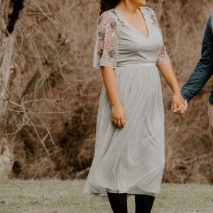 Maya embellished MIDI tulle sleeve dress